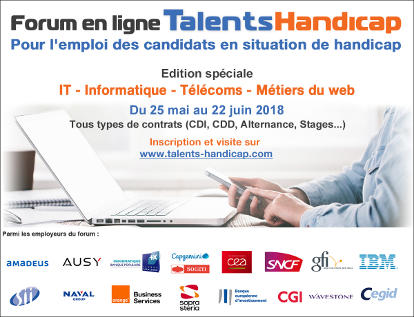 forum Emploi Handicap : IT-INFORMATIQUE-TELECOMS-METIERS DU WEB !