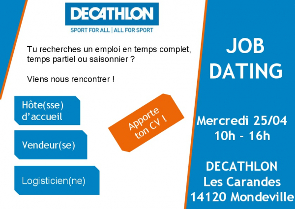 Job dating chez Décathlon le 25 avril !